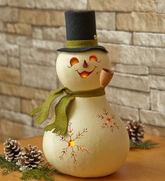 Artisan Christmas Snowman Lighted Gourd