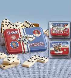 Vintage Games- Dominoes, Jacks, & Marbles