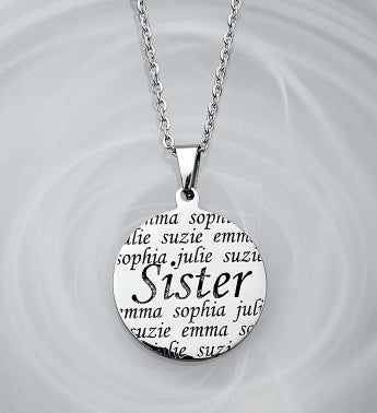 Personalized Pendant- Mother, Grandma, or Sister Sister