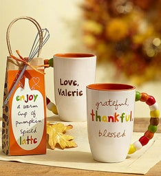 Personalized Artisan Mug with Pumpkin Spice Latte