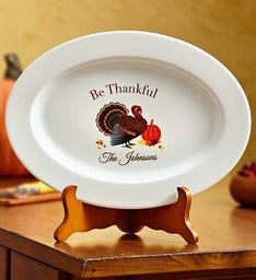 Personalized Thanksgiving Platter with Stand