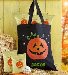 Personalized Halloween Treat Bag with Popcorn