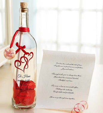 Personalized Message in a Bottle® Anniversary Our Love Has Endured Scroll