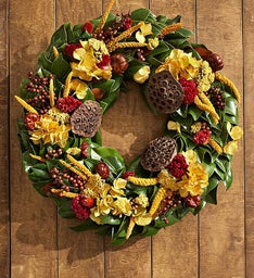 Preserved Golden Magnolia Wreath - 20""