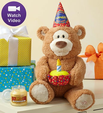 Personalized Happy Birthday Animated Bear by Gund® Personalized Happy Birthday Bear with Candle