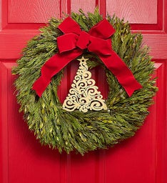 Preserved Myrtle Wreath with Tree Accent - 22""
