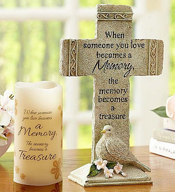 Someone You Love Memory Cross and Candle