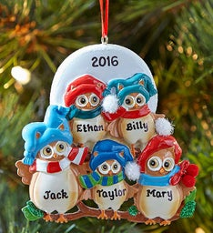 Personalized Family Owls Ornament- 5, 4 or 3 Owls