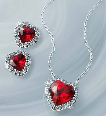 Swarovski Crystal Red Heart Jewelry Set