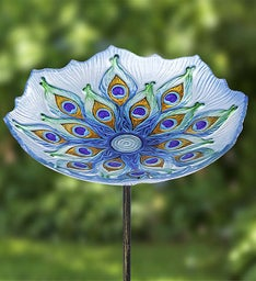Peacock Mosaic Glass Bird Bath