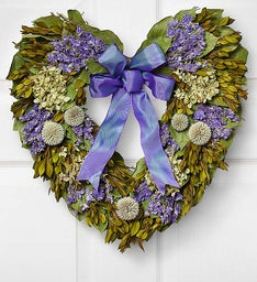 Preserved Hydrangea Heart Wreath - 16""