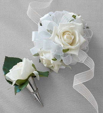Keepsake White Corsage and Boutonniere White Corsage and Boutonniere Set