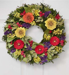 Preserved Zinnia Wreath - 16""