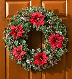 Keepsake Holiday Poinsettia Wreath - 24""