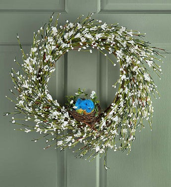 Faux Bluebird White Buttercup Wreath - 22""