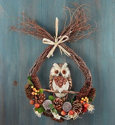 Preserved Teardrop Autumn Owl Wreath- 12""