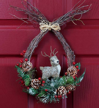 Reindeer Holiday Wreath - 12""
