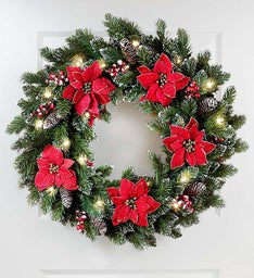 Keepsake Poinsettia Wreath with LED Lights – 24""
