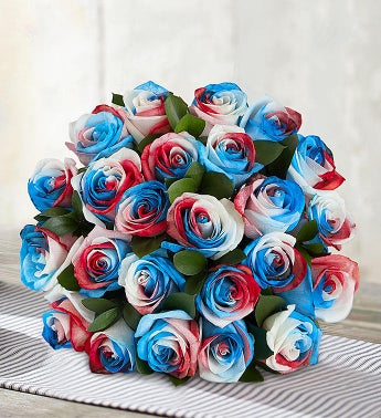 Kaleidoscope Roses: Red, White & Blue  24 Stems, Bouquet Only