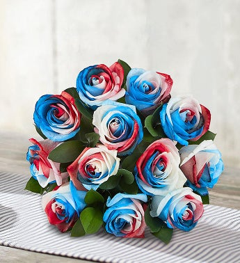 Kaleidoscope Roses: Red, White & Blue  12 Stems, Bouquet Only