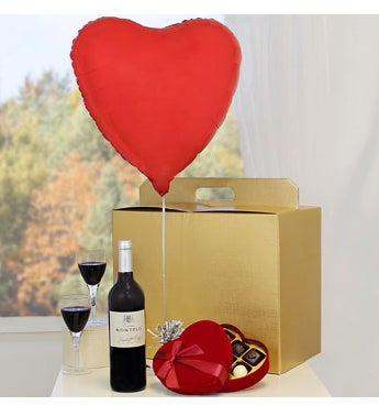 Heart Balloon with Red Wine & Heart Chocolates