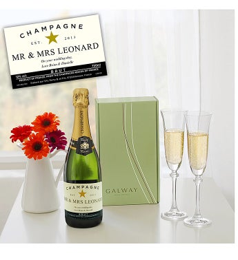 Personalised Champagne & Galway Crystal Flutes