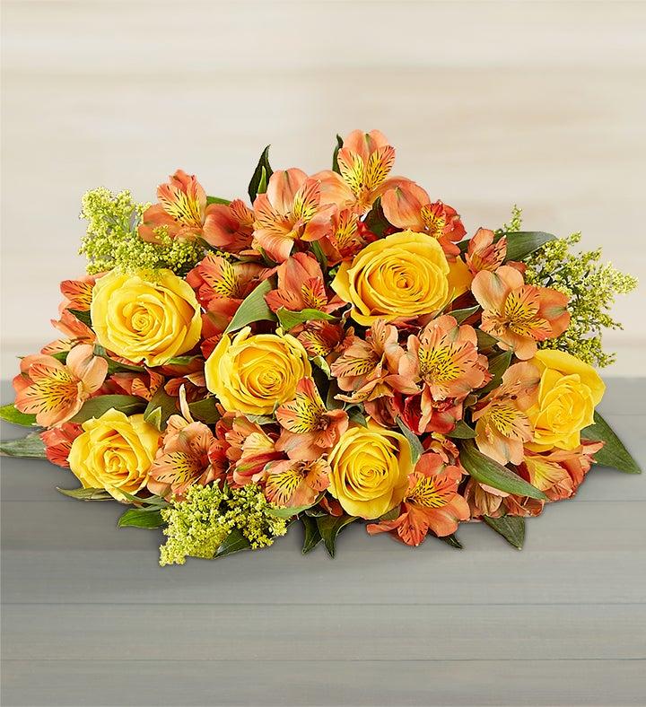 Flowers: Fall Rose & Peruvian Lily Bouquet Bouquet Only- Flower Arrangements