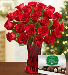 Merry Red Rose Holiday Bouquet, 12-24 Stems