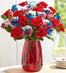 Kaleidoscope Roses, Red, White & Blue