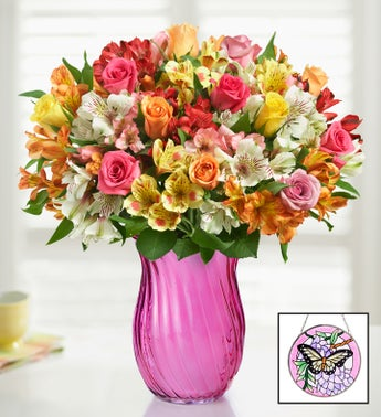 Assorted Roses  Peruvian Lily Bouquet for Mom
