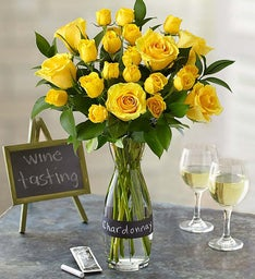 Chardonnay Rose Bouquet with Wine Carafe