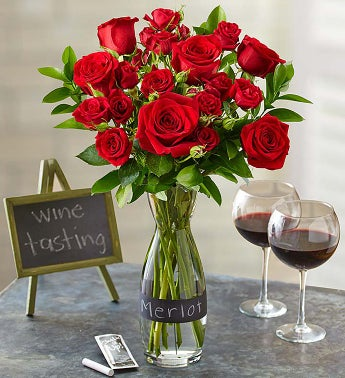 Merlot Rose Bouquet with Wine Carafe
