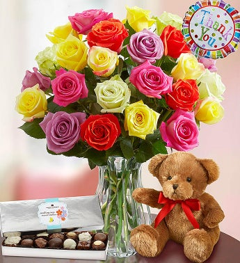 Thank You Assorted Roses:  24 Stems with Clear Vase, Bear & Chocolate