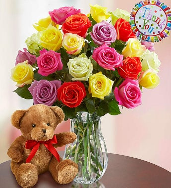 Thank You Assorted Roses:  24 Stems with Clear Vase & Bear