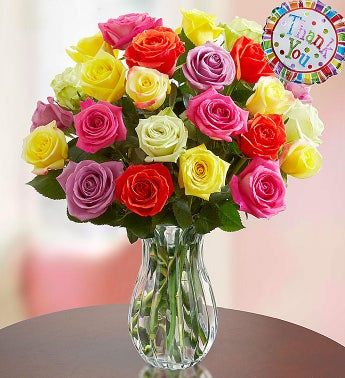 Thank You Assorted Roses:  24 Stems with Clear Vase