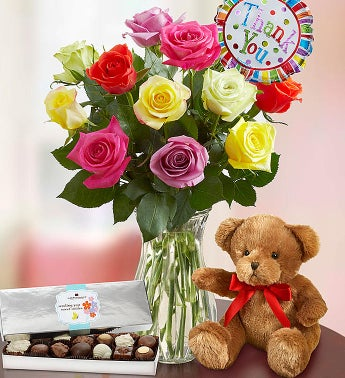 Thank You Assorted Roses:  12 Stems with Clear Vase, Bear & Chocolate