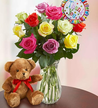 Thank You Assorted Roses:  12 Stems with Clear Vase & Bear