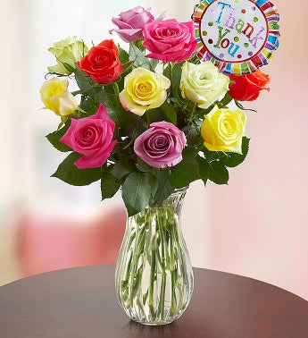 Thank You Assorted Roses:  12 Stems with Clear Vase