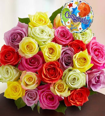 Congratulations Assorted Roses, 24 Stems Bouquet Only