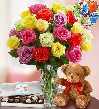Congratulations Assorted Roses, 24 Stems with Clear Vase, Bear & Chocolate