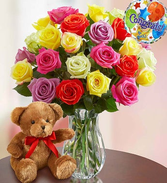 Congratulations Assorted Roses, 24 Stems with Clear Vase & Bear