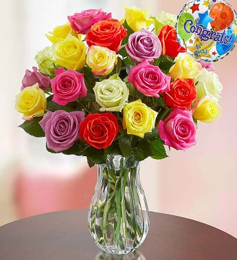Congratulations Assorted Roses, 24 Stems with Clear Vase
