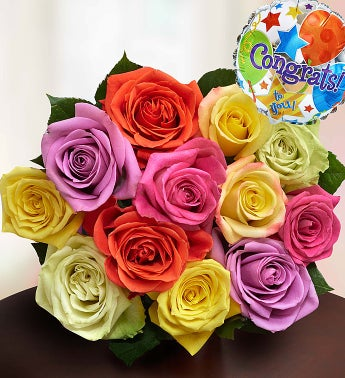 Congratulations Assorted Roses, 12 Stems Bouquet Only