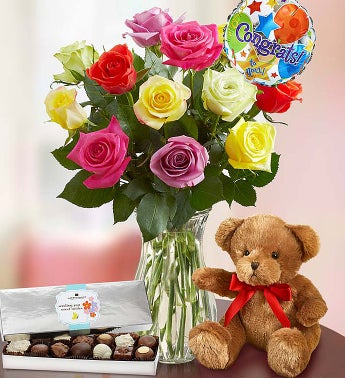 Congratulations Assorted Roses, 12 Stems with Clear Vase, Bear & Chocolate
