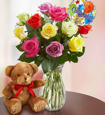 Congratulations Assorted Roses, 12 Stems with Clear Vase & Bear