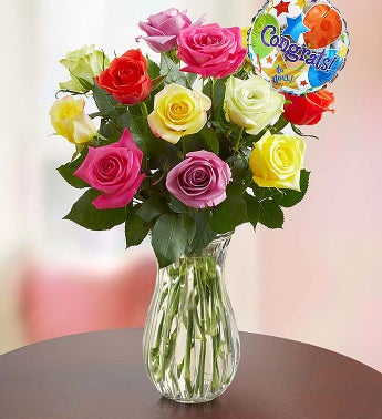Congratulations Assorted Roses, 12 Stems with Clear Vase
