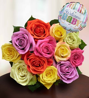 New Baby Celebration Assorted Roses, 12 Stems Bouquet Only