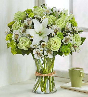 Serene green and white flowers 1800flowers product code 145134 mightylinksfo