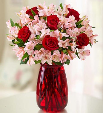 Valentines Day True Love Rose and Peruvian Lily with Clear Vase