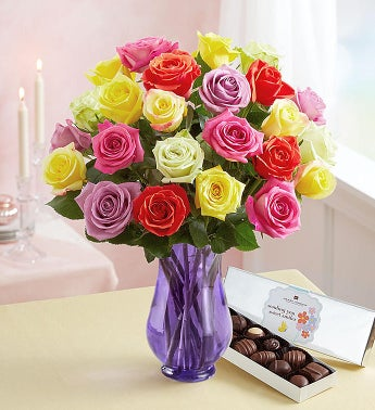 Two Dozen Assorted Roses (Bouquet only)